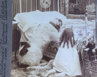 Sepia Stereoview of a girl and her dog at evening prayers 1905 Underwood