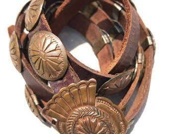 Handmade Navajo Copper Concho Belt