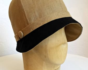 1920s Linen Cloche Hat in Dark Gold and Black Linen - Cloche Hat - Women's Hat