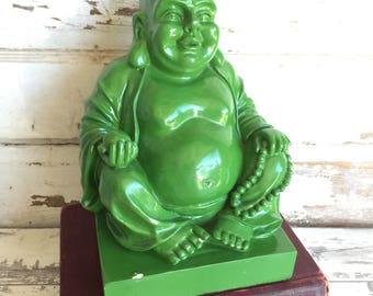 Vintage Statue Laughing Buddha - Green Plaster