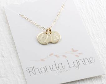 14k Gold Initial Charm Necklace Initial Necklace Solid Gold Necklace Mother Necklace Fine Jewelry Mother's Day Gift Holiday Gift