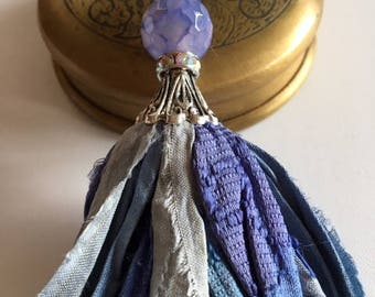 Sari Silk Tassel Necklace-Blue Tassel-BohoTassel Jewelry