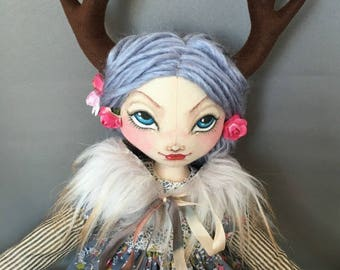 Fawn Deer Doll Silver Haired Wood Nymph, Mori Girl Gothic Art Cloth Rag Doll, Antlers Fur collar vintage lace and fabrics,  fairy doll