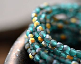 Shimmer Of Hope - Premium Czech Glass Beads, Matte Aquamarine, Aurora Borealis Finish, Firepolish, Facet Rounds 3mm - Pc 50