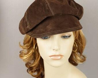 Vintage 1970s Hat Brown Suede Newsboy Style Sz 21