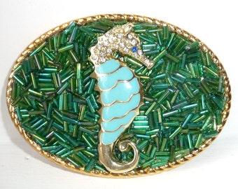 Seahorse Belt Buckle - Womens Sea Horse Buckle - Turquoise Belt Buckles - Aqua Blue Green Buckle - Ocean Theme Buckles - Resort Wear Cruise
