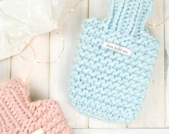 Hot Water Bottle, Personalised Super Chunky Knitted Mini Hot Water Bottle, Pink Hot Water Bottle, Blue Hot Water Bottle, Gift for girls