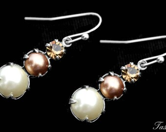 Vintage Swarovski Crystal and Pearl Dangle Earrings, Rhinestone Jewelry