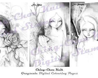 Grayscale Digital Stamp Coloring Set 1 - PRINTABLE Instant Download / Fairy Lady Girl Fantasy Line Art by Ching-Chou Kuik