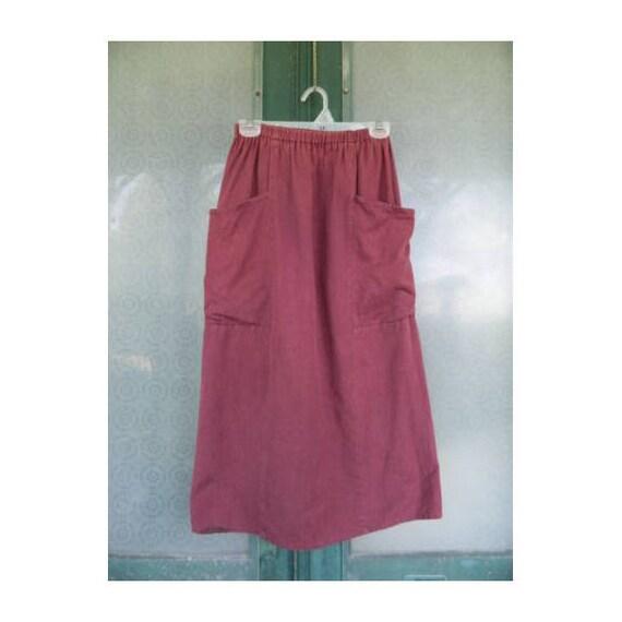 FLAX Engelhart 1993 Pocket Skirt -S- Maroon Soft Linen/Cotton