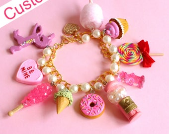 Custom Charm Bracelet, Custom Pink Candy Charm Bracelet, Food Jewelry, Handmade polymer clay charms, Pin Up, Kawaii, Kitsch