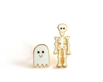 Skeleton and Ghost Pin Badges, Ghost Pin, Skeleton Pin, Lapel Pin, Hard Enamel Brooch, Enamel Pin Badges, RockCakes