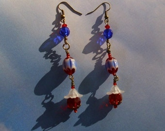 Floral Red, White and Blue Earrings ooak