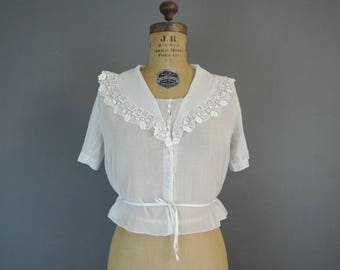 Antique Gauze Blouse Edwardian 34 bust, Vintage Sheer Cotton Blouse, Vintage 1900s