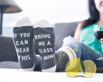 Wine Socks  If you can read this bring me a glass of wine charcoal grey socks