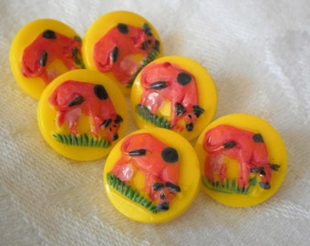 Set of 6 VINTAGE Painted Cow Yellow Glass BUTTONS