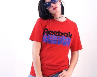 80s Reebok T-shirt L, Distressed Red Reebok T-shirt, Vintage Reebok Tshirt, Athletic T-Shirt, Reebok Workout Tee, Logo Sports Shirt, Large