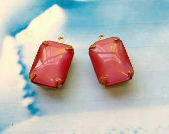 Vintage CZECH Jewels Faceted Rose Pink Opal Glass Stones In a Open Back Raw Brass Prong Setting 440RAW x2