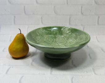 Pedestal Bowl - Ceramic Pedestal Bowl - Pottery Fruit Bowl - Green Spiral Bowl - Centerpiece - Tabletop Decor - Accent Piece - Kitchen Decor