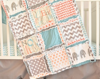 Elephant Crib Set - Turquoise / Orange / Grey - Safari Nursery - Jungle Crib Bedding - Baby Crib Blanket, Skirt, Sheet, OPTIONAL Bumpers