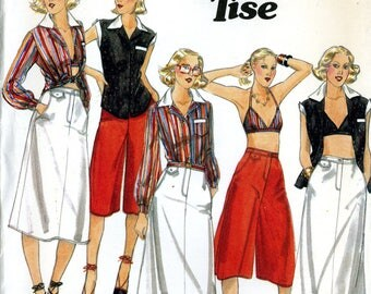 Butterick 5286 Jane Tise Blouse Shirt Bra Top Skirt Culottes Size 14 Uncut Vintage Sewing Pattern 1970s
