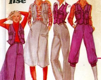 Butterick 5630 1970s Jane Tise Culottes Split Skirt Gauchos Knickers Pants Vest Size 14 Uncut Vintage Sewing Pattern