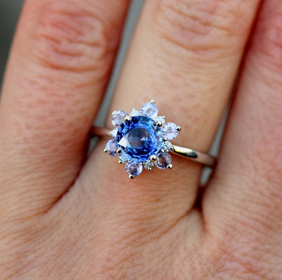 Snowflake ring Sapphire engagement ring Round Blue sapphire ring Diamond ring White gold ring engagement ring by Eidelprecious