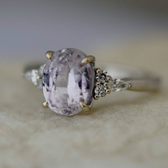 Lavender sapphire ring Engagement ring 14k white gold diamond ring 2.42ct oval dusty lavender sapphire ring Campari design by Eidelprecious