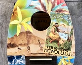 NEW HONOLULU SLIDE, Hawaii, Hand-Collaged Makala Ukulele, Tropical, Playable Art, Collage, Flower, Ocean, Surf, Surf Art