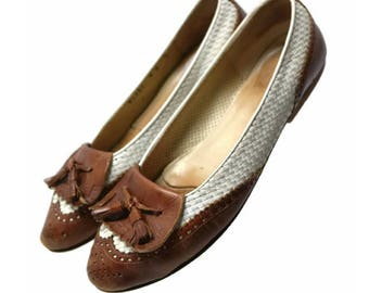 80's cole haan spectator leather flats