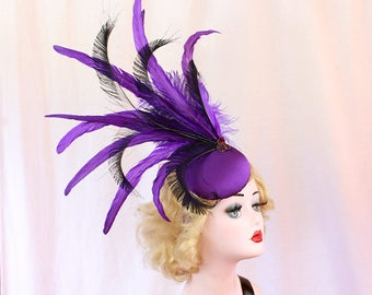 Purple Headdress - Peacock Feather Fascinator - Cocktail Hat - Showgirl Headpiece - High Fashion - Ascot Races - Kentucky Derby