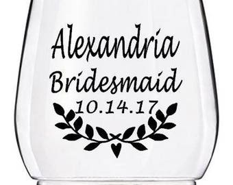 Personalized Laurel Wreath Bridal Party Wine Glass Decals, Custom Bridesmaid Tumbler Decals, Cups NOT Included