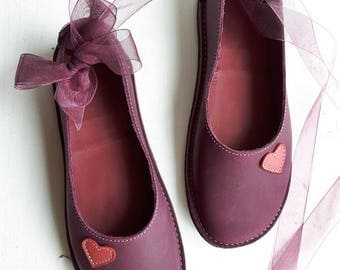 UK 4, Handmade womens Shoes, Leather Fairytale shoe ALICE Lovehearts, 3359 Damson