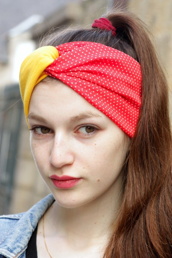 Turban headband hair Retro yellow and red dots, and white Viscose Jersey