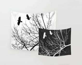 Crows and Trees Wall Tapestry, Black and White Gothic Theme Flying Birds and Tree Branches Silhouette Nature Inspired Fabric Art Wall Decor