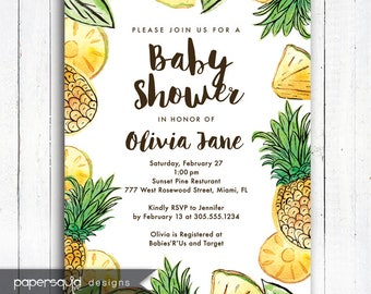 Pineapple Baby Shower Invitation, Pineapple Invitation, Aloha invitation, Personalized Tropical invitation, Digital File,  Item 194A
