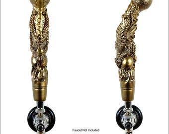 Dragon Beer Tap Handle,  kegerator tap handle, Golden Bronze metallic finish