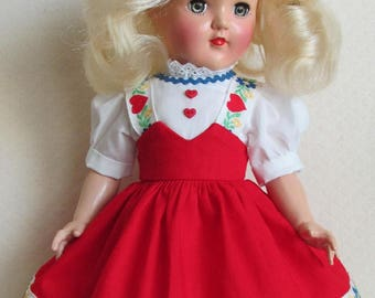 "For 14"" P-90 Ideal Toni Doll - Tyrolean Dress Inspired by an Original in Red"