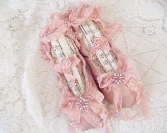 Shabby Rustic Rose Pink Brocante Tattered Ballet Slippers Worn Ballet Pointe Assemblage Art Shoes