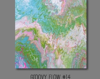 Groovy Abstract Acrylic Flow Painting #14 Ready to Hang 12x12