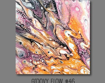 Groovy Abstract Acrylic Flow Painting #46 Ready to Hang 8x8