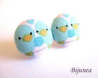 Bird earrings - Bird flower stud earrings - Bird blue flower studs - Bird post earrings sf1336