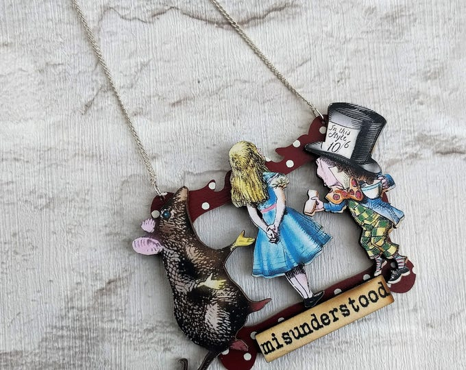 Alice in Wonderland Necklace, Alice/Mad Hatter/Rat Necklace, Tenniel Illustration, Statement Necklace, Altered Art, Mixed Media