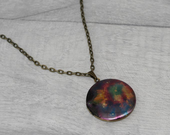 Galaxy Locket Necklace, Space & Stars Necklace