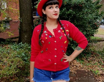 Vintage Red Candy Cardigan Peppermint Buttons Embroidered Candy Sweater Beaded Sequins Fringe Christmas Candy Sweater Size Medium