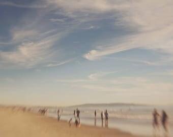 beach photo, surreal photograph, Daydreamer, ocean, west coast, California art, clouds blue sky, dreamy photo, brown sand, ocean, boys room