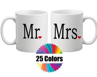 Coffee Cup Mug Decal Mr and Mrs Decals DIY Gift Wedding Gift Yeti, Tumbler Rambler RTIC Ozark 25 Colors