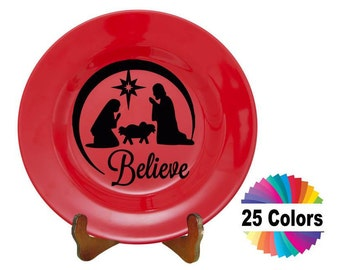 Charger Plate Decal Home Decor Christmas Nativity Believe Car Window Laptop Wall DIY Gift Choose From 25 Colors