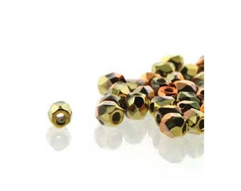 True2 Czech Firepolish Beads 2mm 18610 (600), Crystal California Gold Rush Tiny Round Glass Beads, Faceted Glass Beads, Czech Glass Beads