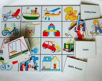 1970s Picture and Word Blocks in Primary Colours with Cute Illustrations of Toys - Classic Vintage Toy